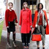 Як носити червоні плащі і пальто.